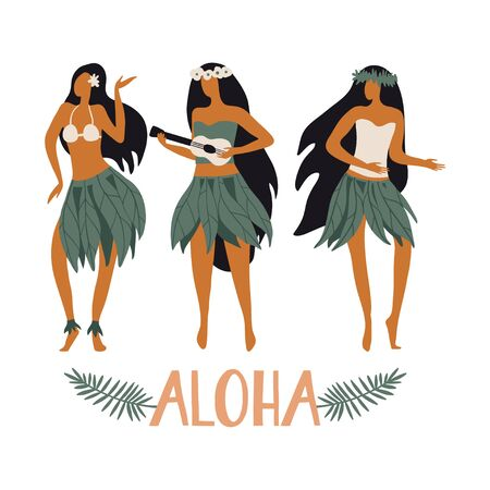 Hawaiian girls are dancing hula and playing ukulele. Aloha text. Cute card print or poster for Hawaiian holidays. Vector illustration. Funny character, flat cartoon style summer design with lettering