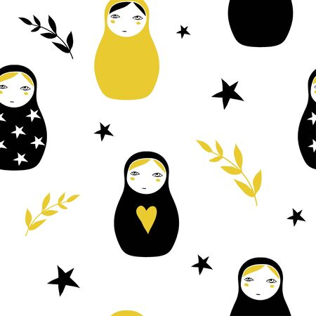 Nesting doll texture. Matreshka, Russian doll and stars. Seamless pattern with cute cartoon traditional wooden toys and branches. Minimalistic geometric ornaments. Kids theme. Black and yellow