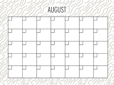 August. Universal Monthly Planner Template. Vector. Hand drawn doodle texture. Abstract shapes. Schedule for daily plans, impotant dates. Printable Organizer, calendar for study, school or work