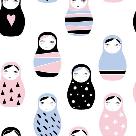Nesting doll texture. Matryoshka, Russian doll with heart, dots and triangles. Seamless pattern with cute cartoon traditional wooden toys. Minimalistic geometric ornaments. Kids theme