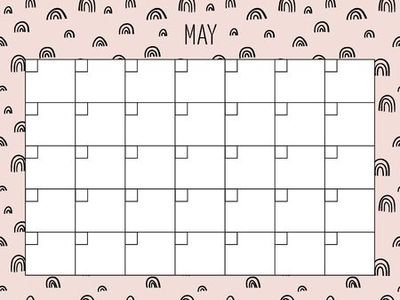 May. Universal Monthly Planner Template. Vector. Hand drawn doodle texture. Abstract shapes. Schedule for daily plans, impotant dates. Printable Organizer, calendar for study, school or work 向量圖像