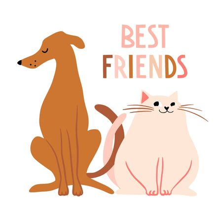 Best friends. Cute hand drawn cat and dog characters. Funny cartooon animals. Flat pet llustration, poster, print for kids t-shirt, baby wear. Slogan, inspirational, motivation quote.
