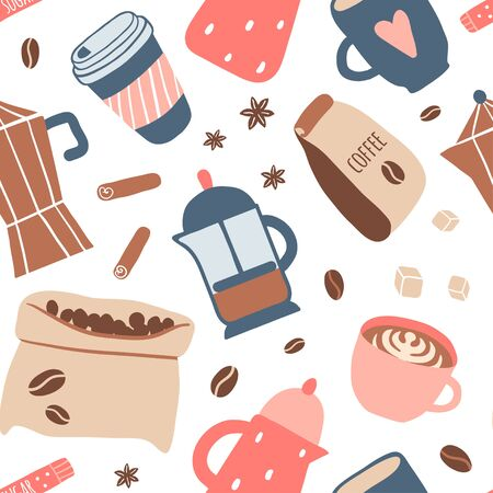 Seamless pattern with different coffee types: americano, cappuccino, espresso, raf, mocha. Hot cup of drink for breakfast, kettle, mug, beans. Vector texture in cartoon style