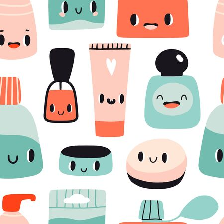 Cute cartoon seamless pattern with kawaii cosmetics. Flat style girls beauty accessories. Cream, tubes, perfume, nail polish with smiling faces. Woman stuff concept. Face, skin care products. Vector