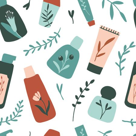 Organic cosmetic seamless pattern: bottles, jars, tubes. Herbal cosmetics texture. Flat hand drawn style. Woman stuff, eco girls accessory concept. Natural face care products. Vector illustration