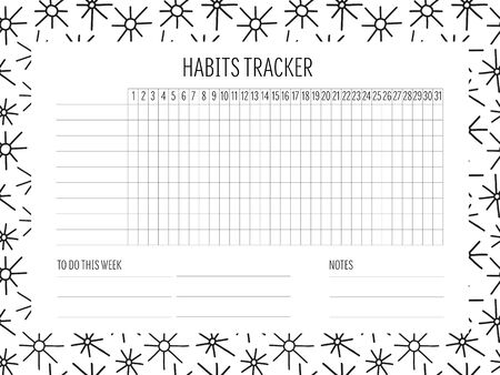Habit tracker blank with Hand drawn doodle texture. Bullet journal template. Monthly planer. Vector illustration. Abstract shapes. Printable organizer, diary, planner for important goals