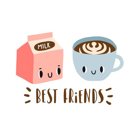Best friends: cartoon milk and cup of coffee. Funny breakfast characters. Card, print or poster template. Set with cute drink icons in kawaii style with smiling face. Food vector collection