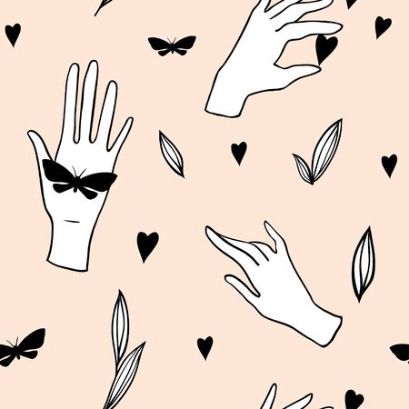 Seamless pattern with hands, butterflies, heart and leaves on pink. Hand drawn background with human palms, wrists, gestures. Sketch style outline vector texrure for modern textile, fabric, paper