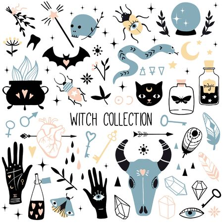 Big witch magic design elements collection. Cute hand drawn, doodle, sketch magician set. Witchcraft symbols. Vector. For tattoo, textile, cards, Halloween decor