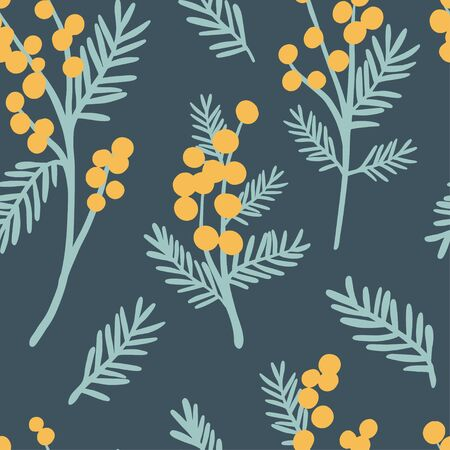 Mimosa seamless pattern. Floral simple spring or summer graphic design for paper, textile print, page fill. Yellow flowers on dsrk green background. Hand drawn modern and original texture 向量圖像
