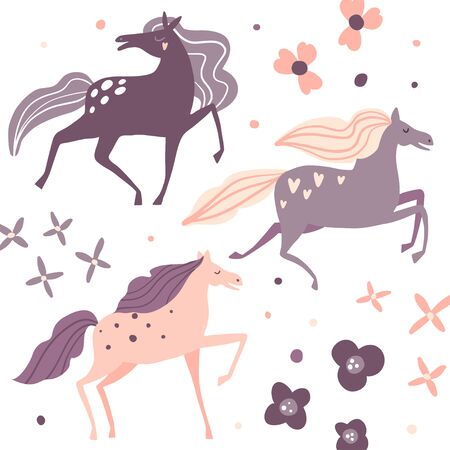 Beautiful horses and flowers. Print, card or poster. Flat style cartoon floral illustration. Farm animals collection. Cute hand drawn characters. Nature. Wildlife set in vector. Pink and purple