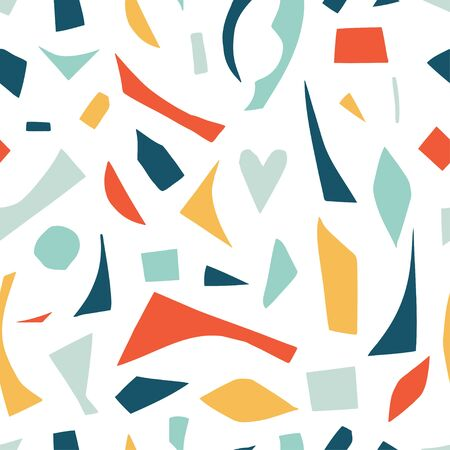 Cutout shapes seamless pattern. Colorful geometric abstract silhouettes. Minimalistic simple background 向量圖像