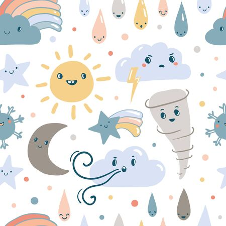 Funny weather seamless patrern. Emotional vector weather. Clouds, rain, sun, moon, stars, rainbow in kawaii style with smiling face. Texture with cute forecast