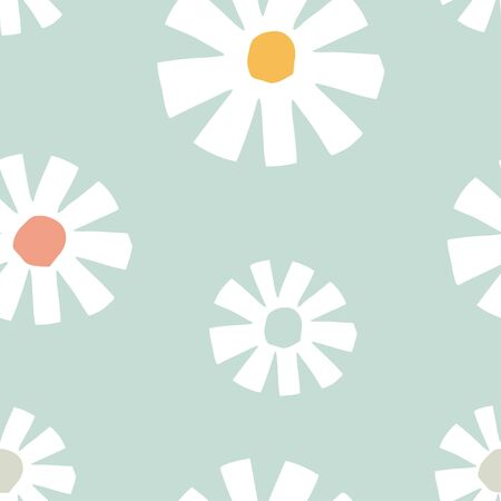 Colorful seamless pattern with hand drawn chamomile flowers. Modern and original textile, wrapping paper, wall art design. Vector illustration. Floral simple minimalistic graphic design