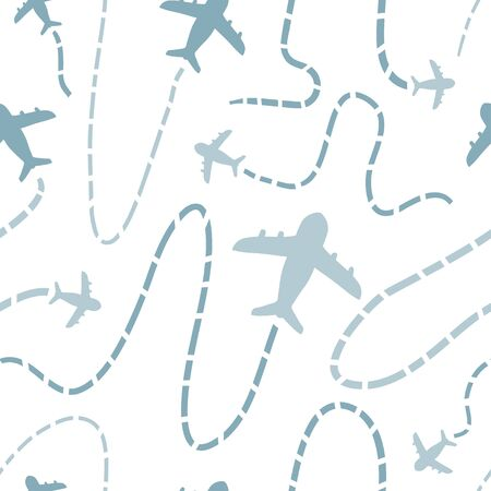 Travel seamless pattern with airplanes. Doodle aircraft destinations. Air traffic silhouette. Hand drawn texture for wallpaper, pattern fills, web, wrapping paper, surface