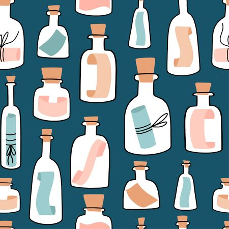Seamless pattern with cote Bottles with Messages. Hand drawn flat colorful cartoon style texture with glass bottles, jars and parchment sheets. Seafaring, marine theme, castaway. Vector background.
