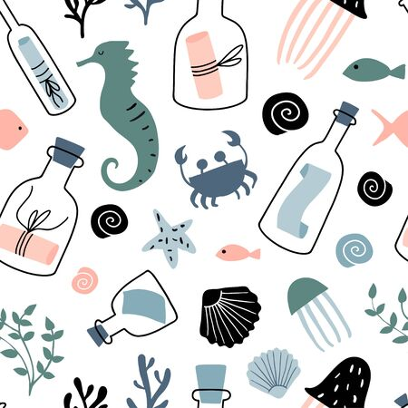 Nautical seamless pattern with message in a bottle, fish, shell, sea star, sea horse. Hand drawn flat colorful cartoon style texture with glass bottles, jars and underwater creatures. Marine theme