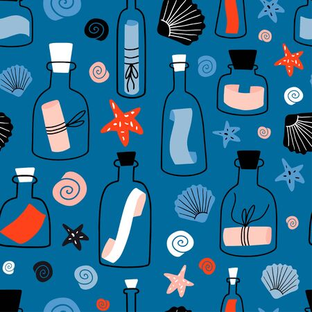 Nautical seamless pattern with message in a bottle, shell, sea star. Hand drawn flat colorful cartoon style texture with glass bottles, jars and underwater creatures. Seafaring, marine theme, castaway