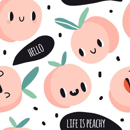 Seamless pattern with cartoon peaches. Hello. Life is peachy. Summer fruits colorful design for textile, fabric, paper. Cute doodle style emoticons. Smiling faces kawaii food. Hand drawn flat texture 向量圖像