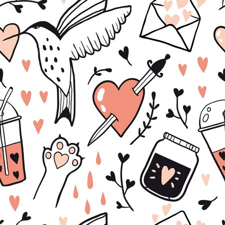 Seamless pattern with love line illustrations. Hand drawn texture for Valentines day or wedding. Cute doodle background with hearts, bird, envelope for textile, fabric, wrapping paper