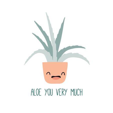 Aloe you very much. Cute funny card or poster with hand drawn flower pots. Flat style, kawaii doodle home plants with face emotions. Botany hand drawn illustrations of gardening. Cartoon home decor