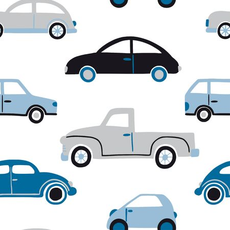 Hand drawn cars seamless pattern. Flat vector texture for kids textile, paper, nursery design. Icons with transport. Cartoon vintage retro cars. Cute vehicle silhouettes