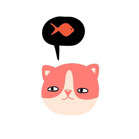 Funny cat dreaming about fish. Cute design for card, print, poster. Pet vector illustration. Cartoon doodle animals images. Cute kitten. Hand drawn character