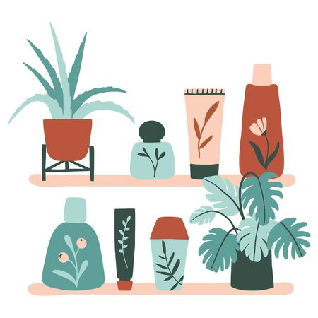 Organic cosmetic set: bottles, jars, tubes on the shelf. Herbal cosmetics collection. Flat hand drawn style. Woman stuff, eco girls accessory concept. Natural face care products. Vctor illustration