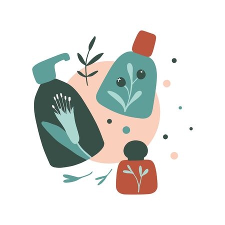 Organic cosmetic illustration: bottles and jars. Herbal cosmetics print. Flat hand drawn style. Woman stuff, eco girls accessory concept. Natural face care products. Vector illustration