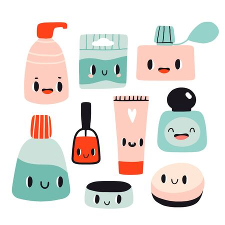 Cute cartoon set with kawaii cosmetics. Flat style girls beauty accessories. Cream, tubes,  nail polish with smiling faces. Woman stuff concept. Face, skin care products. Vector illustration