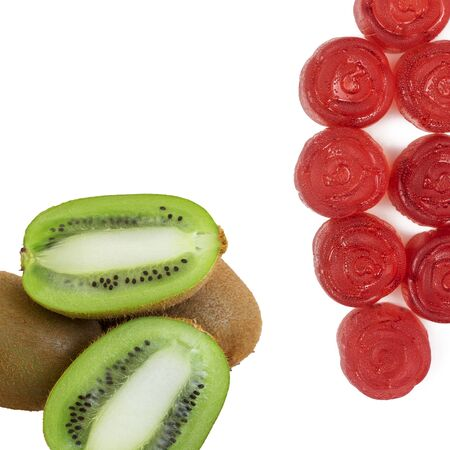red marmalade and kiwi on a white isolated background