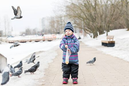 a child in a striped overalls and hat feeds millet pigeons from a bag in winter. pigeons fly beautifully Stok Fotoğraf