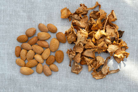 dried chanterelles and not peeled almonds on a canvas napkin. veggie set