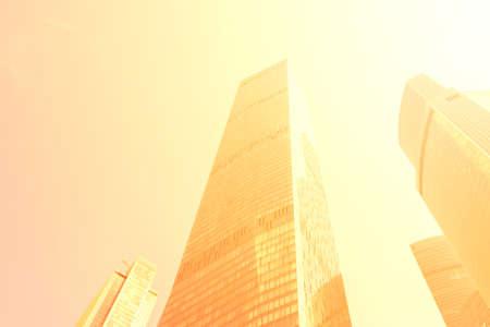 high-rise buildings in the metropolis. skyscrapers bask in sunlight