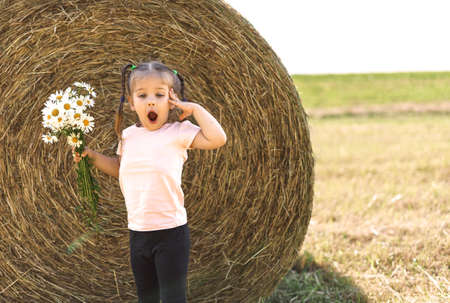 little girl 4 years old with a bouquet of field daisies sat down to rest near a haystack on a summer day