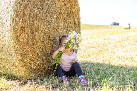 a 4-year-old girl with a bouquet of field daisies sat down to rest near a haystack on a summer day
