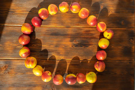ripe juicy nectarines are laid out in a circle on a wooden background. harvest of fruits. copy space