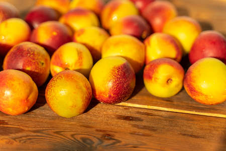 ripe nectarines on a wooden table. harvest of nectarines