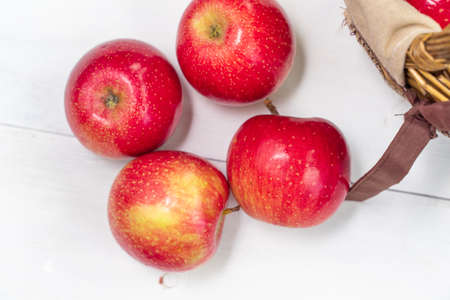 red juicy fresh apples on wooden background. view from above Stock fotó