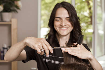 hair cutting process. beautiful female stylist cuts off a lock of hair from a client