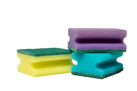set of 3 cleaning sponges. isolate on white background Stock Photo