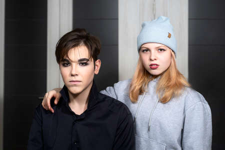 teenage boy and girl in gothic look