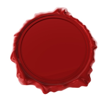 Red wax seal isolated on white 3D render  photo