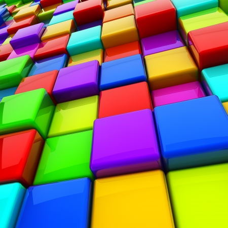 basic shapes: Multicolor 3D cubes abstract background  Stock Photo
