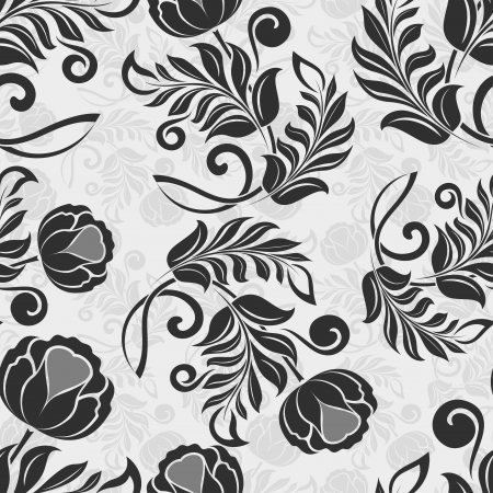 Seamless flower monochrome pattern  Vector