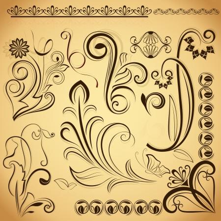 Floral vintage design elements