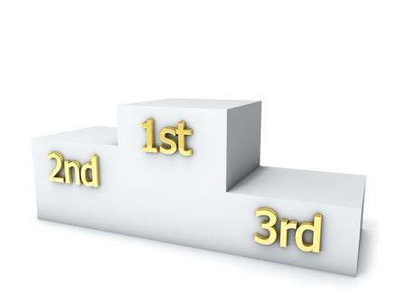 Clear winners award podium isolated on white background. photo