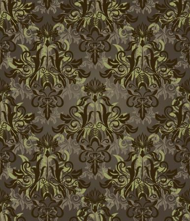 Seamless dark brown and green retro pattern. Vector