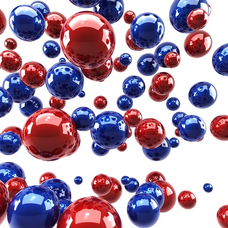 Red and blue glossy spheres background. Stock Photo - 14303321