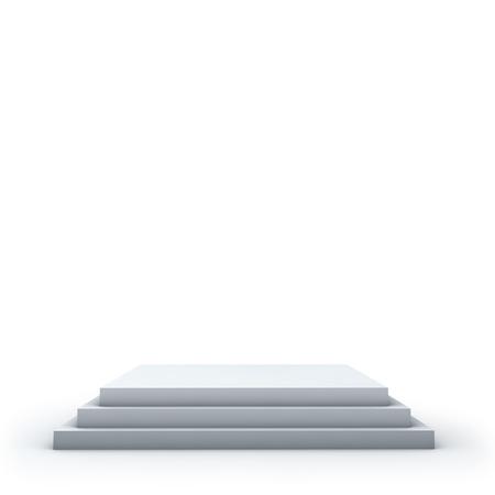 3 steps empty square podium on white background. Imagens